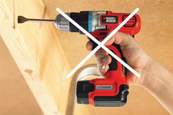 Cordless drill driver with blue cross through it