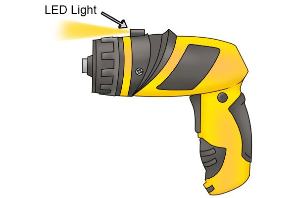 Cordless screwdriver with LED worklight