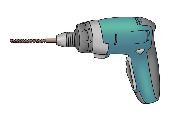 Cordless screwdriver with chuck and drill bit