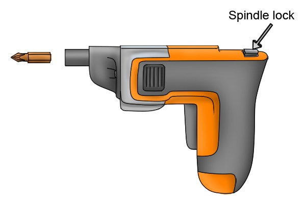 Cordless screwdriver with labelled spindle lock and screwdriver bit