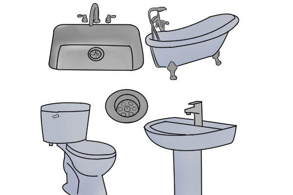 kitchen sink, bath, toilet, basin, plug hole