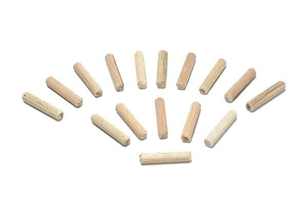 Dowel pegs machined to uniform size for accurate and reliable use in dowelling