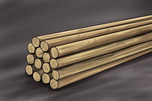 Uncut dowel rods for use in a variety of woodworking projects including dowelling joints