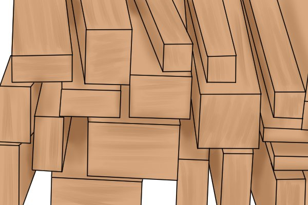 Planks of balsa wood