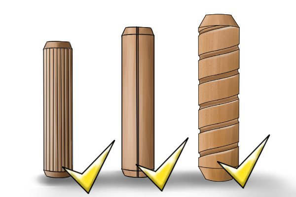 Image to show that all kinds of grooves and flutes in dowels work equally well