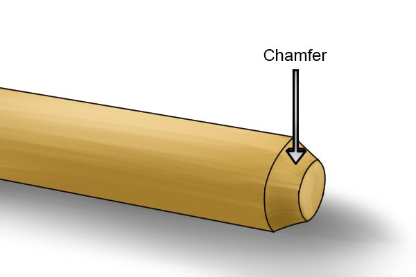 Image of a dowel rod with a chamfered end