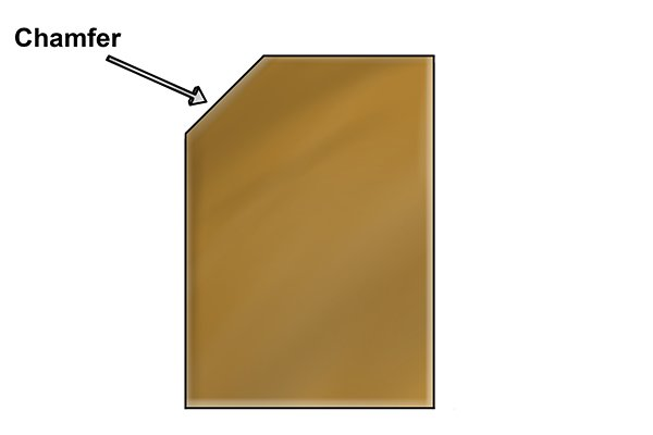 Diagram to explain what a chamfer is in dowelling and other woodworking and engineering projects