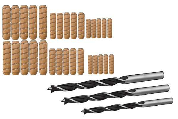 Image showing the standard dowel and drill bit sizes for use in dowelling projects