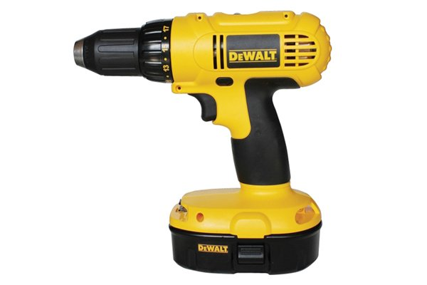 Image of a power drill which can be used for dowelling projects but is less reliably accurate than a drill press