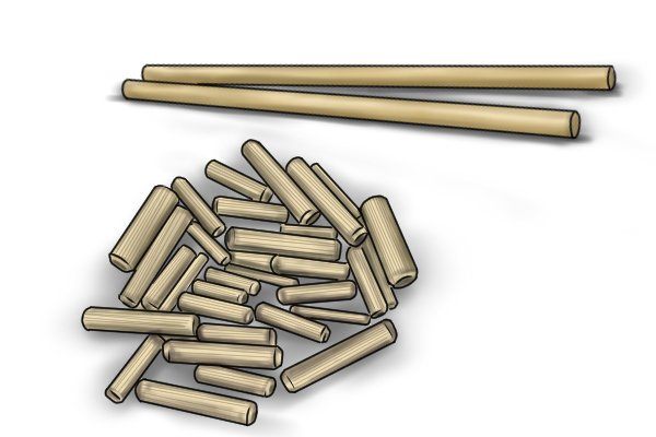 Dowel rods and pegs for use in dowel joinery
