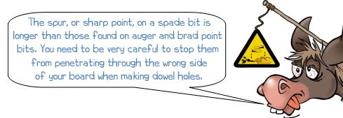 Wonkee Donkee explains that the spur on a spade bit is long and that it should be taken into account when drilling dowel holes