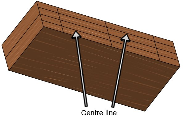 Planks marked with centre lines and dowel location lines