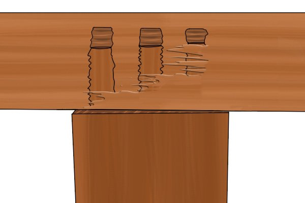 Dowel joint that has split under pressure