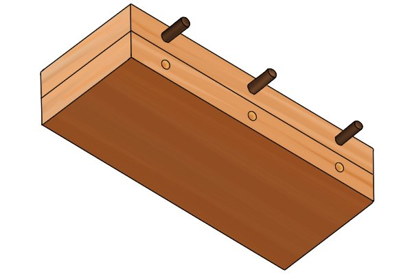 Two planks with correctly drilled dowel holes and dowel pegs inserted
