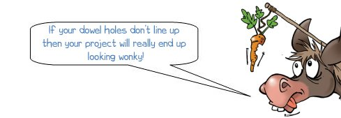 Wonkee Donkee warns that your project will be wonky if you don't line up your dowels