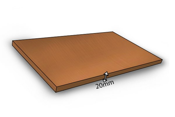 Image of a board 20mm thick to be used in making an edge to surface joint with dowels