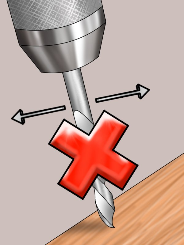 Image to show that the drill bit in the drill press can only move up and down while drilling dowel holes, rather than side to side
