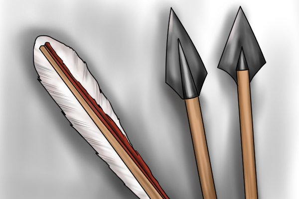 Decorated arrows crafted from dowel rods