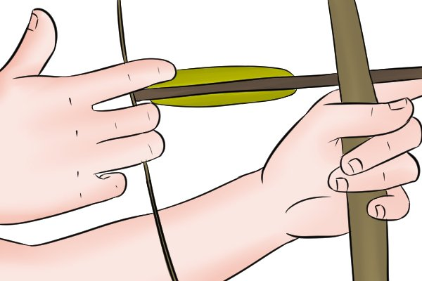 Knock cut in a dowel arrow just deep enough that the bow string will fit inside it