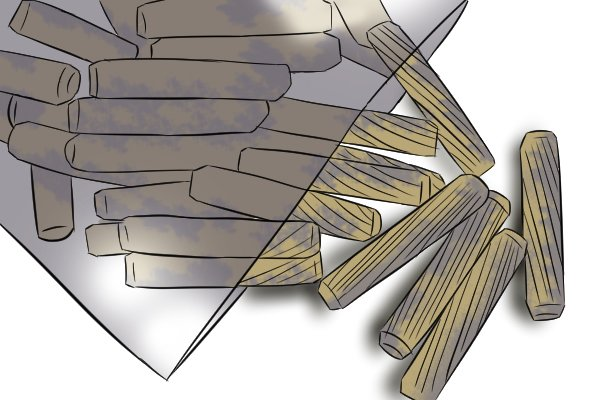 A bag of dowel pins that are unfit for making dowelling joints