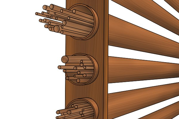 Dowel rods stored flat in a rack to prevent bending