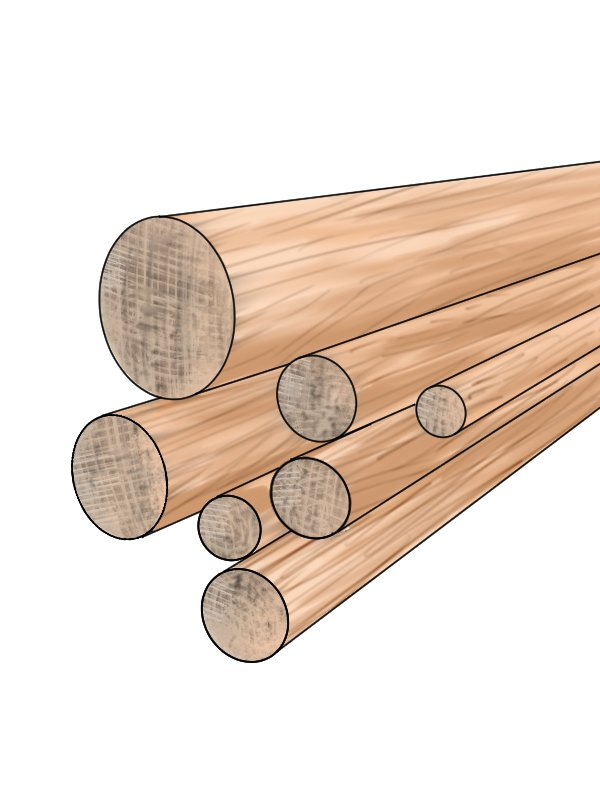 Dowel rods stored vertically and therefore prone to sagging