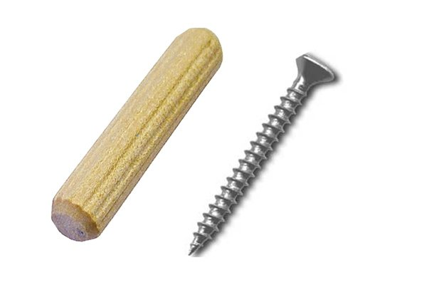 Image to show that dowels are thicker than screws and nails