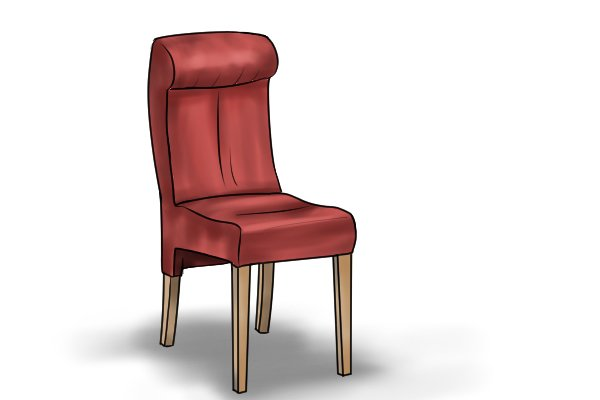Chair with wooden legs attached and secured with dowel pins