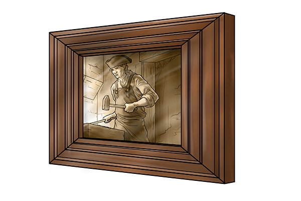 Image of a picture frame created using mitred dowelling joints
