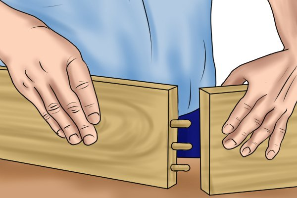 Illustration of an L-shaped joint or corner joint that has been created using dowels