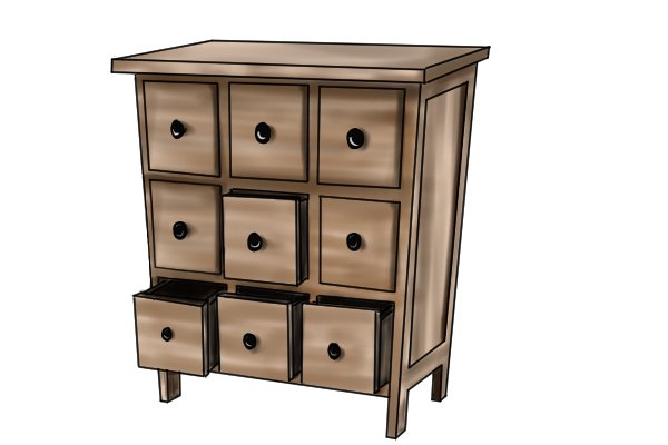 Wooden cabinet created using L-shaped dowel joints