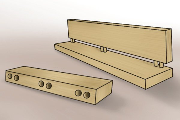 Illustration of a carcassing joint made with wooden dowels