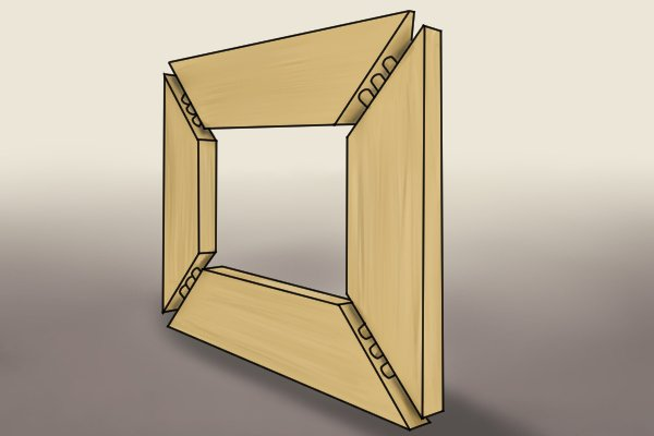 Mitre joint created using wooden dowels
