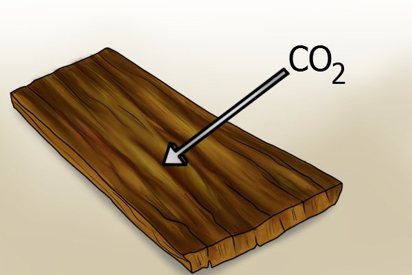 Diagram to show a wooden plank absorbing carbon dioxide