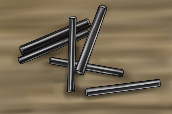 Dowel pins made out of material other than wood for use in construction, baking, dentistry and manufacturing