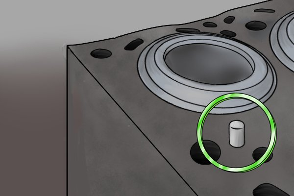 Image showing a dowel pin being used in the construction of an engine for the purposes of alignment