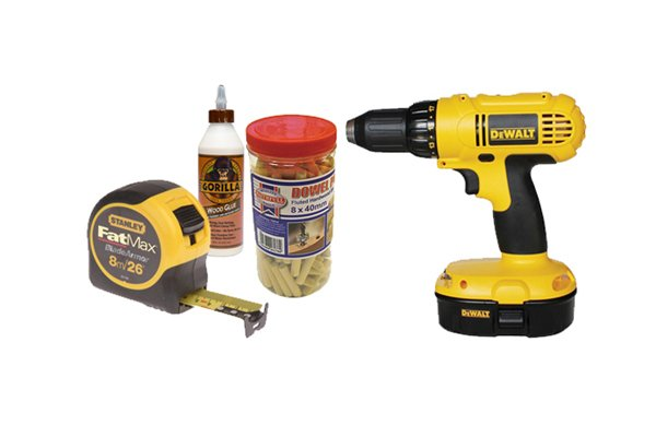 Image showing basic dowelling equipment: tape measure, drill, glue and dowels