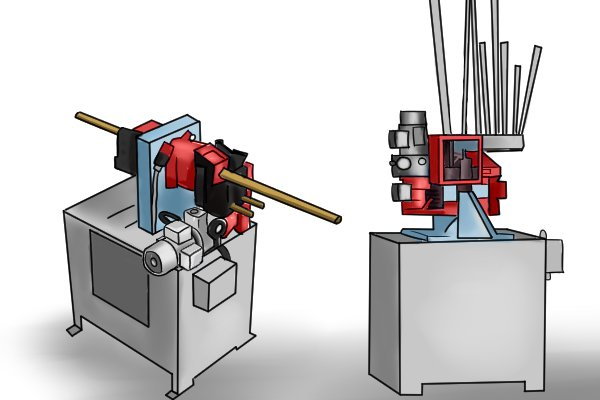 The two machines used in the manufacture of wooden dowel rods and dowelling pins