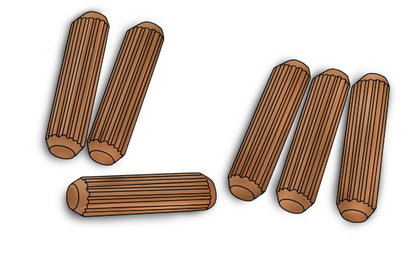 Dowel pins machined to uniform size for accurate and reliable use in dowelling