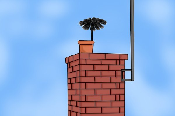 Wonkee Donkee Brush sticking out of chimney shows you have swept the entire length of the chimney or flue