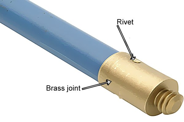 Wonkee Donkee Brass joint with rivet to connect chimney and drain rod tools