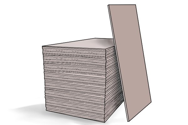 Stacked plasterboard sheets