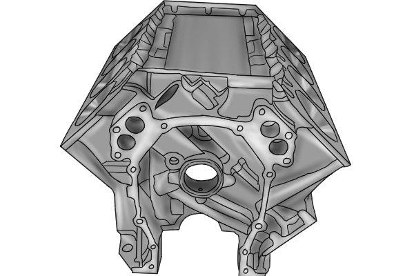 Engine cylinder block from a V12 engine