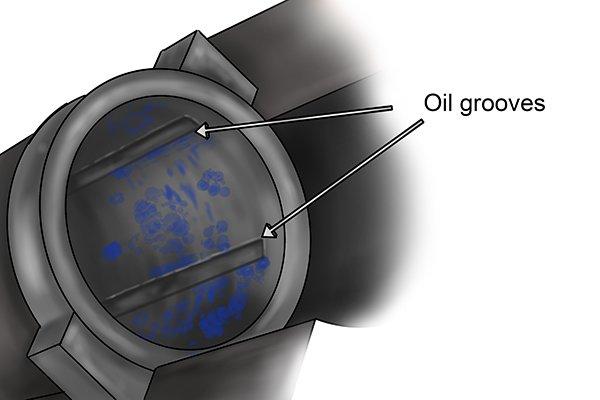 Oil grooves in bearing