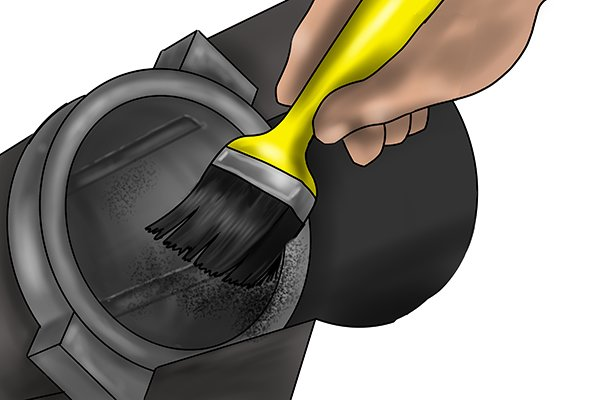 Bearing being brushed clean