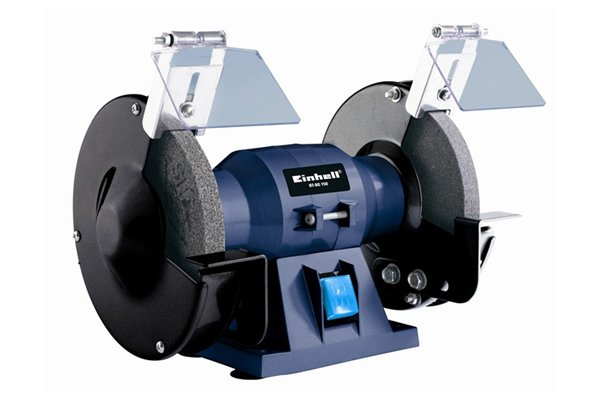 Bench mounted grinder with an aluminium oxide grinding wheel
