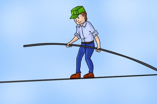 Tightrope walking balancing act