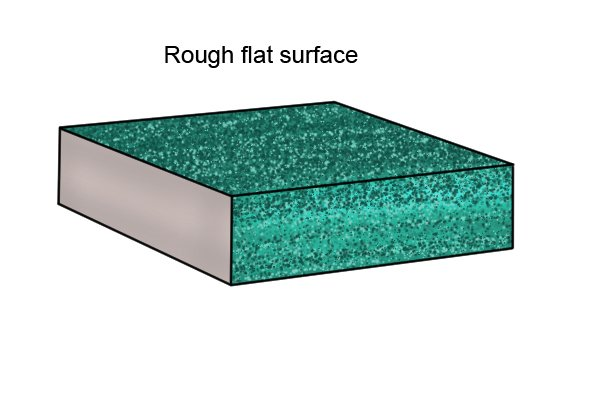 Rough flat surface of a sanding block