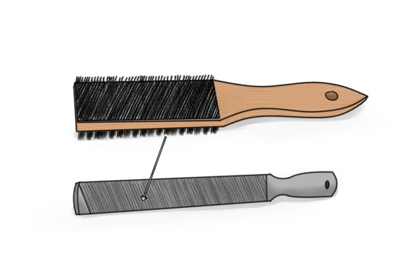 File card brush, brushing, file, dirt, shavings, filings, metalwork, woodwork, DIYer.