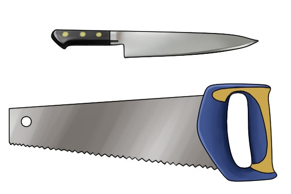 A knife and a saw, both of which can be sharpened by hand using files